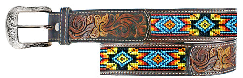 Twisted-X Brown Leather & Beaded Belt
