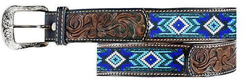 Twisted-X Brown Leather & Blue Beaded Belt