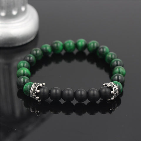 green malachite stone beads bracelet