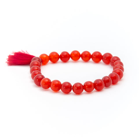 red coral beaded bracelet