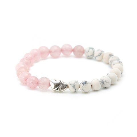 rose quartz and howlite beads bracelet