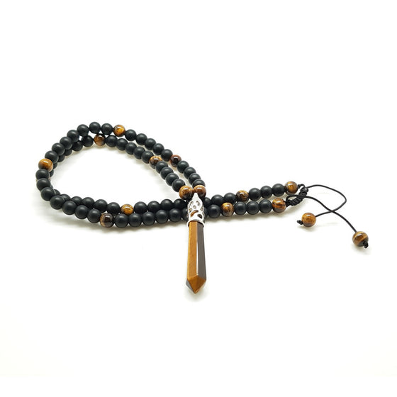 Matt & Polished Black Onyx & Tiger Eye with Tiger Eye Pendant - Pearl in Oyster - Souk Madinat Jumeirah, Dubai