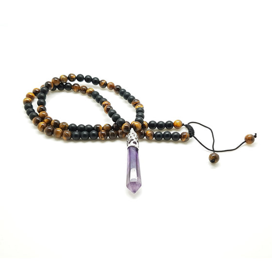 Matt Black Onyx & Tiger Eye with Amethyst Pendant - Pearl in Oyster - Souk Madinat Jumeirah, Dubai