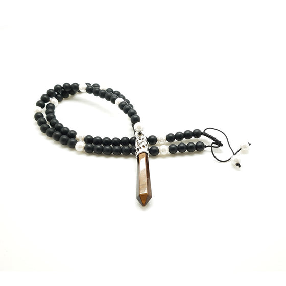 Matt Black Onyx & Pearl with Tiger Eye Pendant - Pearl in Oyster - Souk Madinat Jumeirah, Dubai