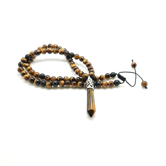 Matt Black Onyx & Tiger Eye with Tiger Eye Pendant - Pearl in Oyster - Souk Madinat Jumeirah, Dubai
