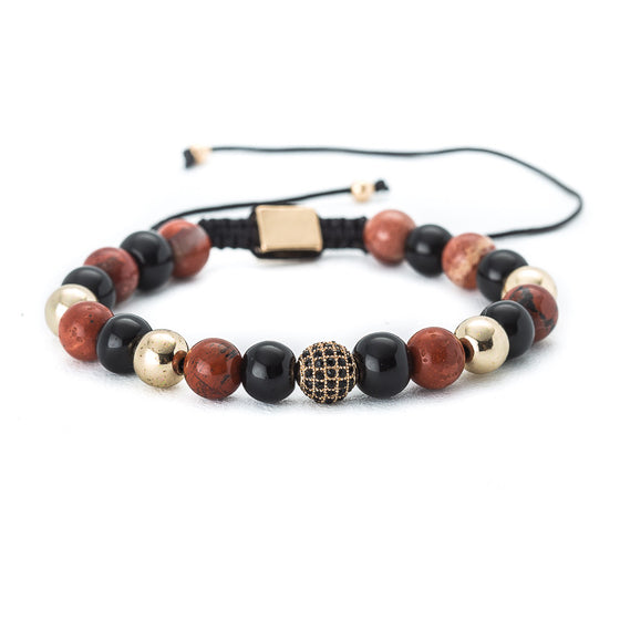 Jade & Onyx Beaded Bracelet with Crystal Charm - Pearl in Oyster - Souk Madinat Jumeirah, Dubai