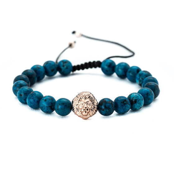 Blue Turquoise Beaded Bracelet with Lion Charm - Pearl in Oyster - Souk Madinat Jumeirah, Dubai