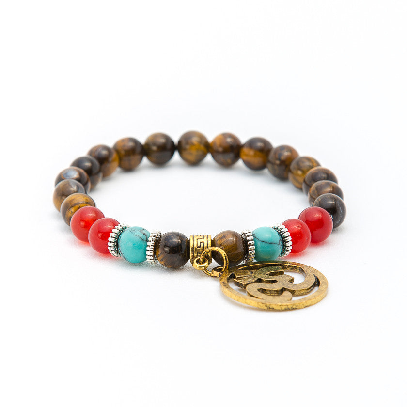 Tiger Eye, Red Coral & Turquoise with Ohm Symbol - Pearl in Oyster - Souk Madinat Jumeirah, Dubai