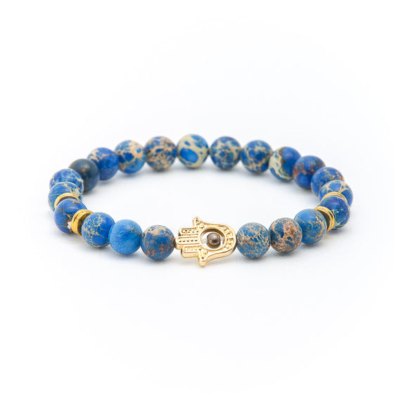 Blue Lapis with Hand of Fatima - Pearl in Oyster - Souk Madinat Jumeirah, Dubai