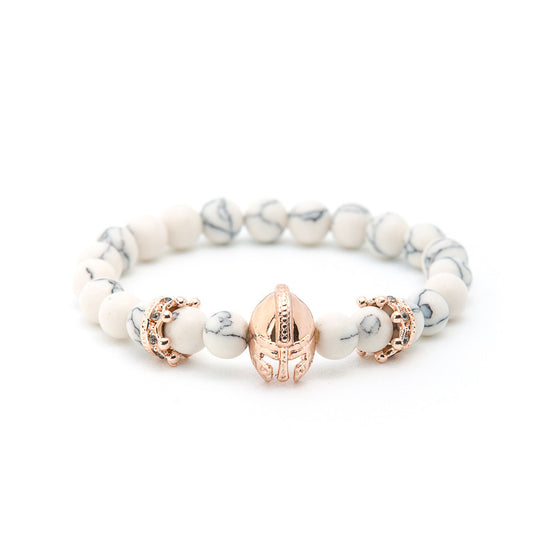 Howlite with Gold Gladiator Helmet - Pearl in Oyster - Souk Madinat Jumeirah, Dubai