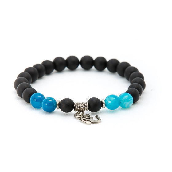 Aquamarine & Matte Black Onyx with Ohm Symbol - Pearl in Oyster - Souk Madinat Jumeirah, Dubai