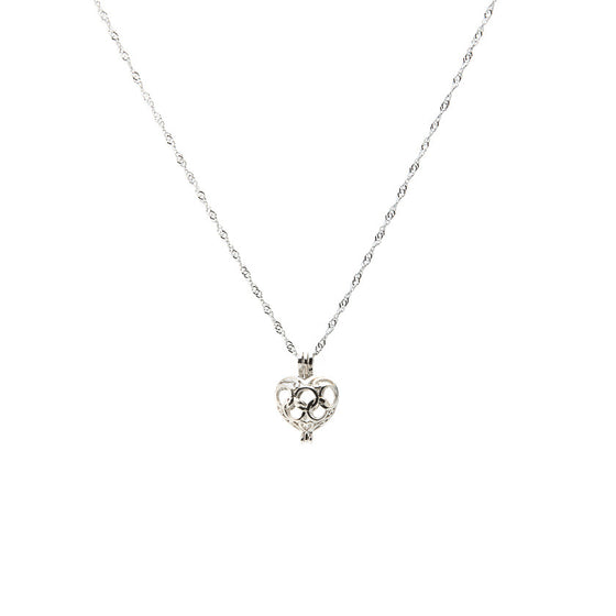 Silver plated Arabesque Heart Cage pendant - Pearl in Oyster - Souk Madinat Jumeirah, Dubai