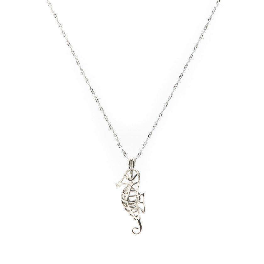 Silver plated Sea Horse Cage Pendant - Pearl in Oyster - Souk Madinat Jumeirah, Dubai