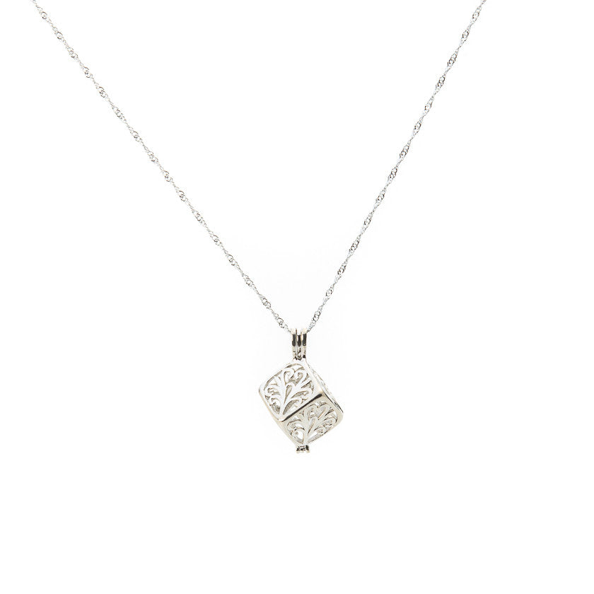 Silver plated Arabesque Cube Cage pendant - Pearl in Oyster - Souk Madinat Jumeirah, Dubai