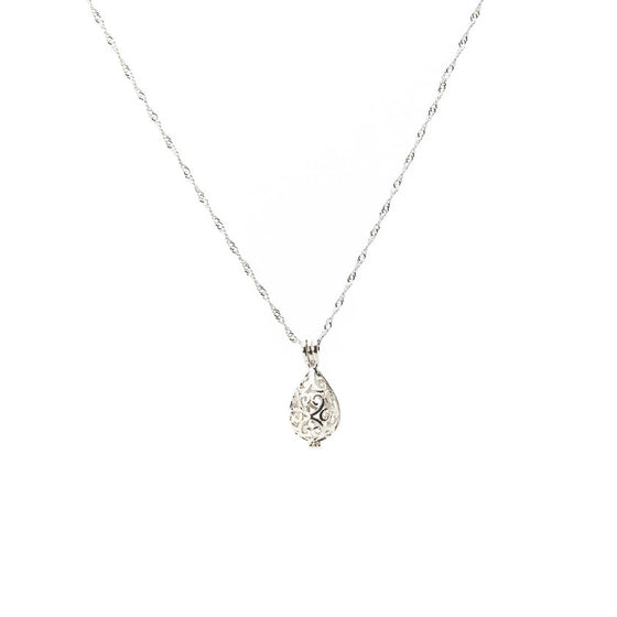 Silver plated Arabesque Tear Drop Cage pendant - Pearl in Oyster - Souk Madinat Jumeirah, Dubai