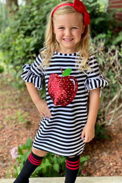 Sequins Apple of My Eye Black Ruffle Sleeve Dress