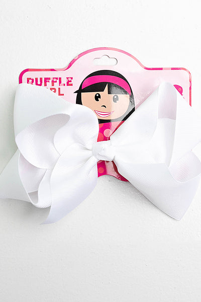 BRIGHT WHITE BOW WITH CLIP
