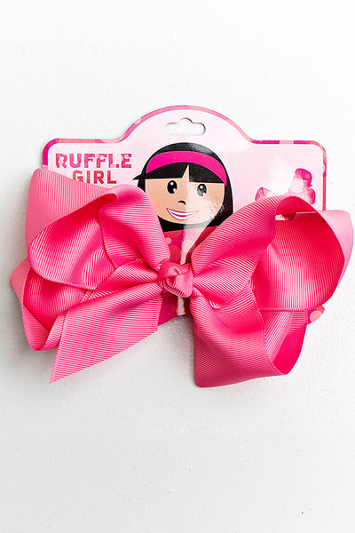 HOT PINK BOW WITH CLIP