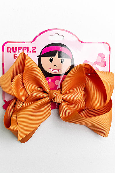 GOLDEN ORANGE BOW WITH CLIP