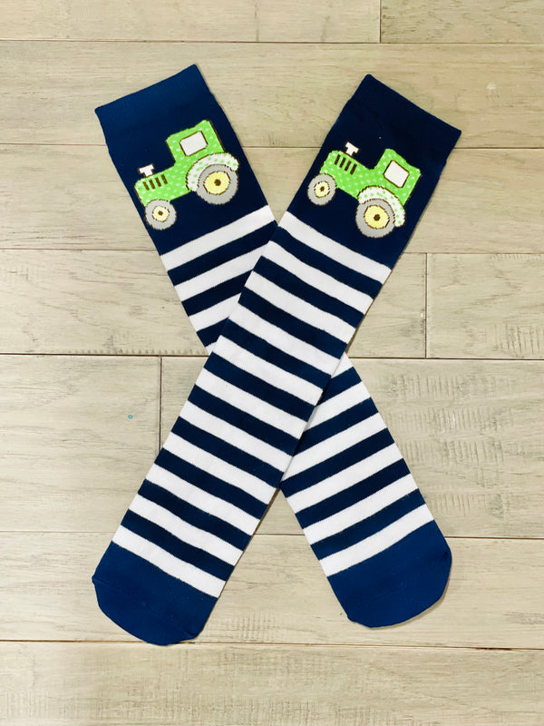 Navy & White Down On The Farm Tractor Socks