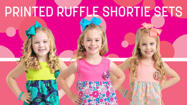 Printed Ruffle Shortie Sets