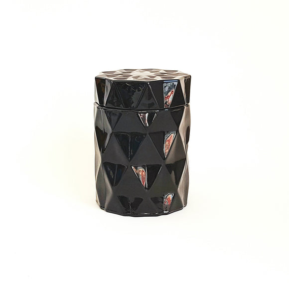 Black diamond candle jar