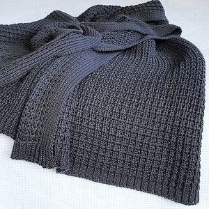 Cotton chunky knit charcoal throw