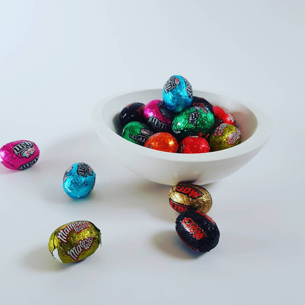 chalk design mini bowl with easter eggs