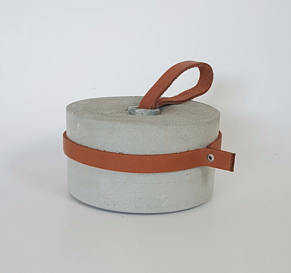 Concrete & leather doorstop