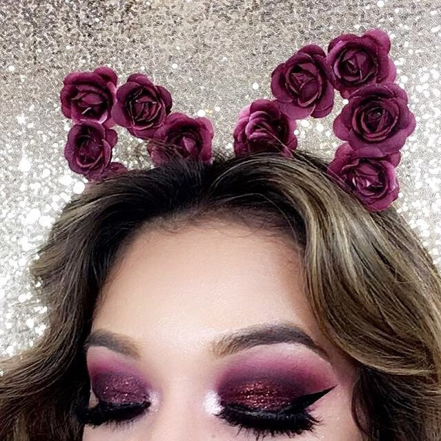 Dramatic Burgundy Glitter Eyeshadow