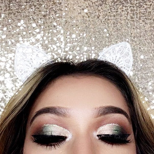 Fall Green Gold Glitter Cut Crease