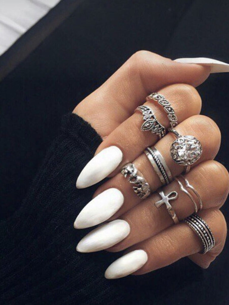 White Almond Press On Nails