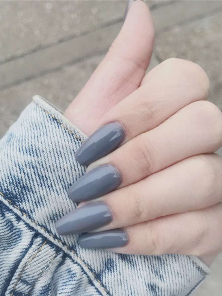 Grey-Blue Press On Coffin Nails