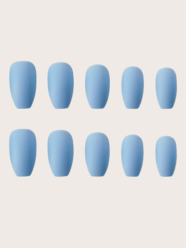 Baby- Blue Press On Coffin Nails