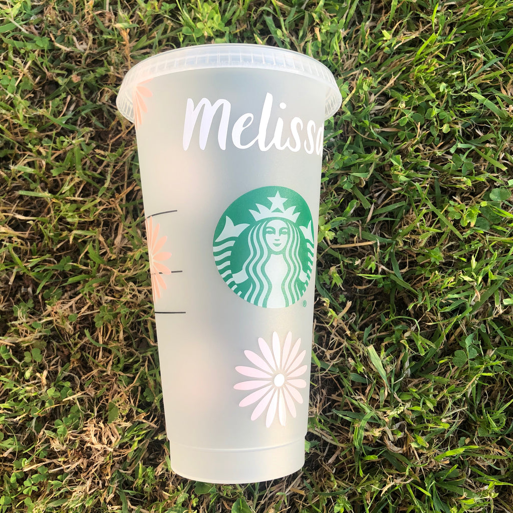 Baby Pink Daisy Starbucks Cup