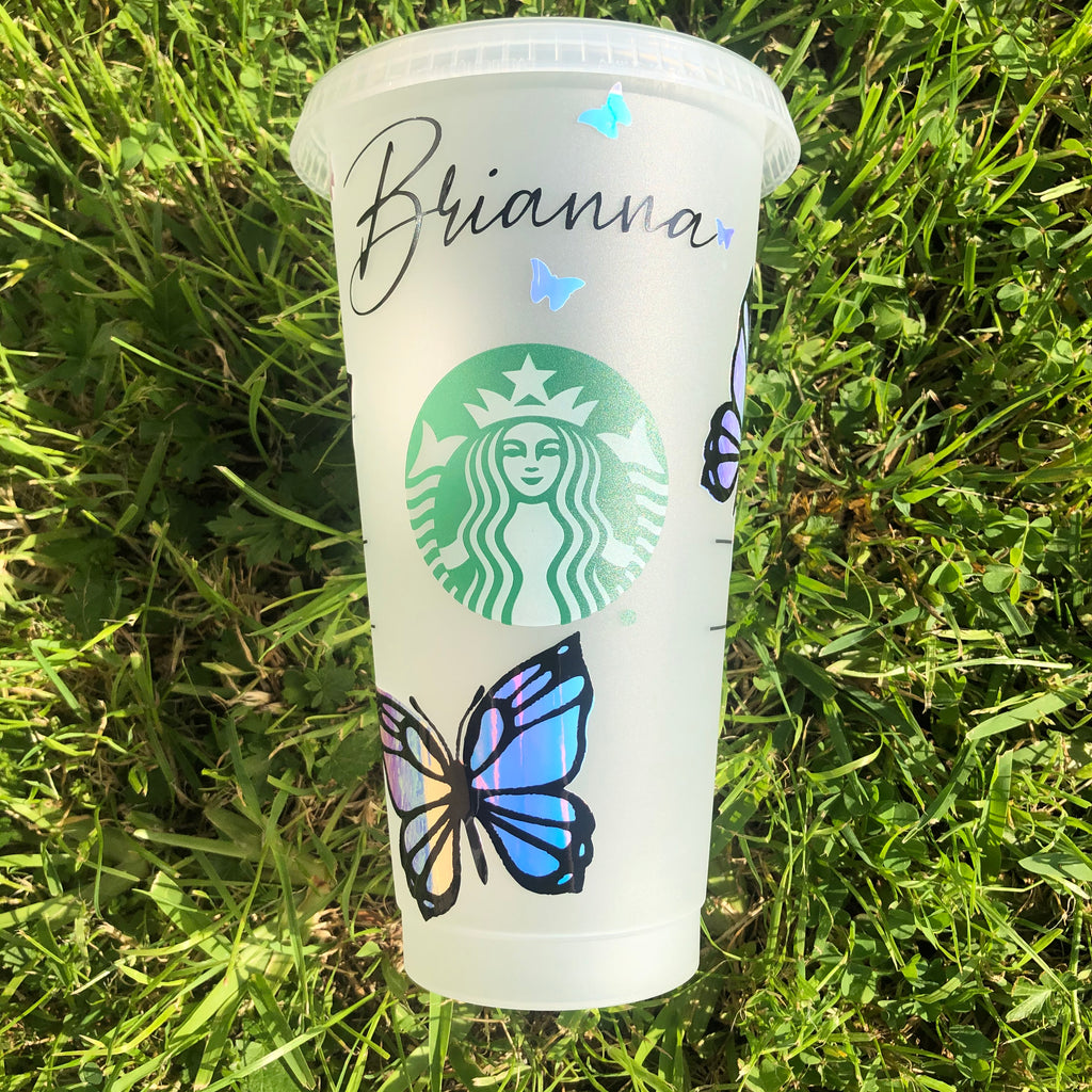 Holographic Butterfly Starbucks Cup