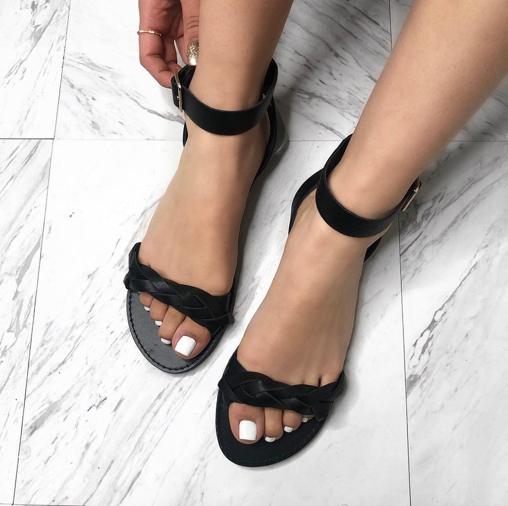 Ella Braided Sandals - Black