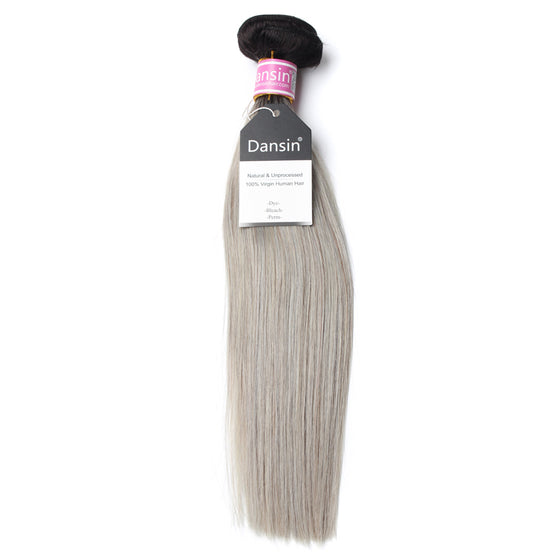 Luxury 10A Peruvian 1B Gray Ombre Straight Hair 1 Bundle