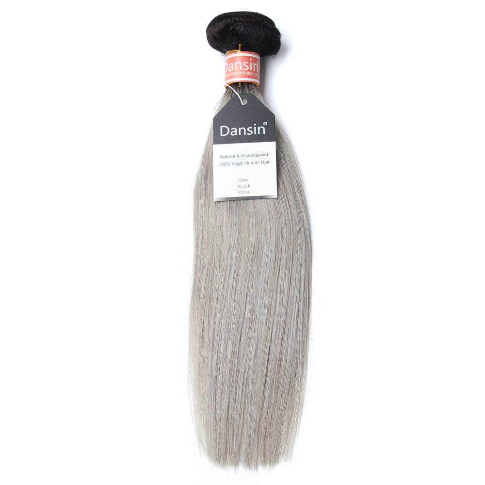 Luxury 10A Malaysian 1B Gray Ombre Straight Hair 1 Bundle