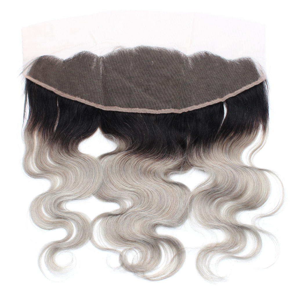 Luxury 10A 1B Gray Ombre Body Wave Lace Frontal Back