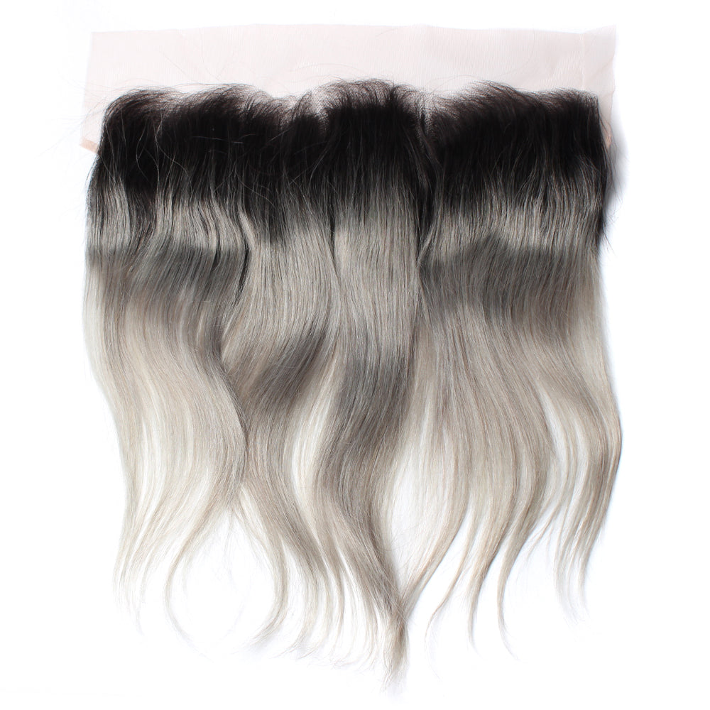 Luxury 10A 1B Gray Ombre Straight Lace Frontal