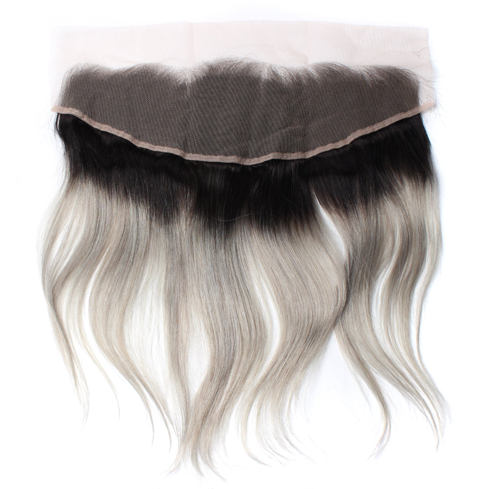 Luxury 10A 1B Gray Ombre Straight Lace Frontal Black