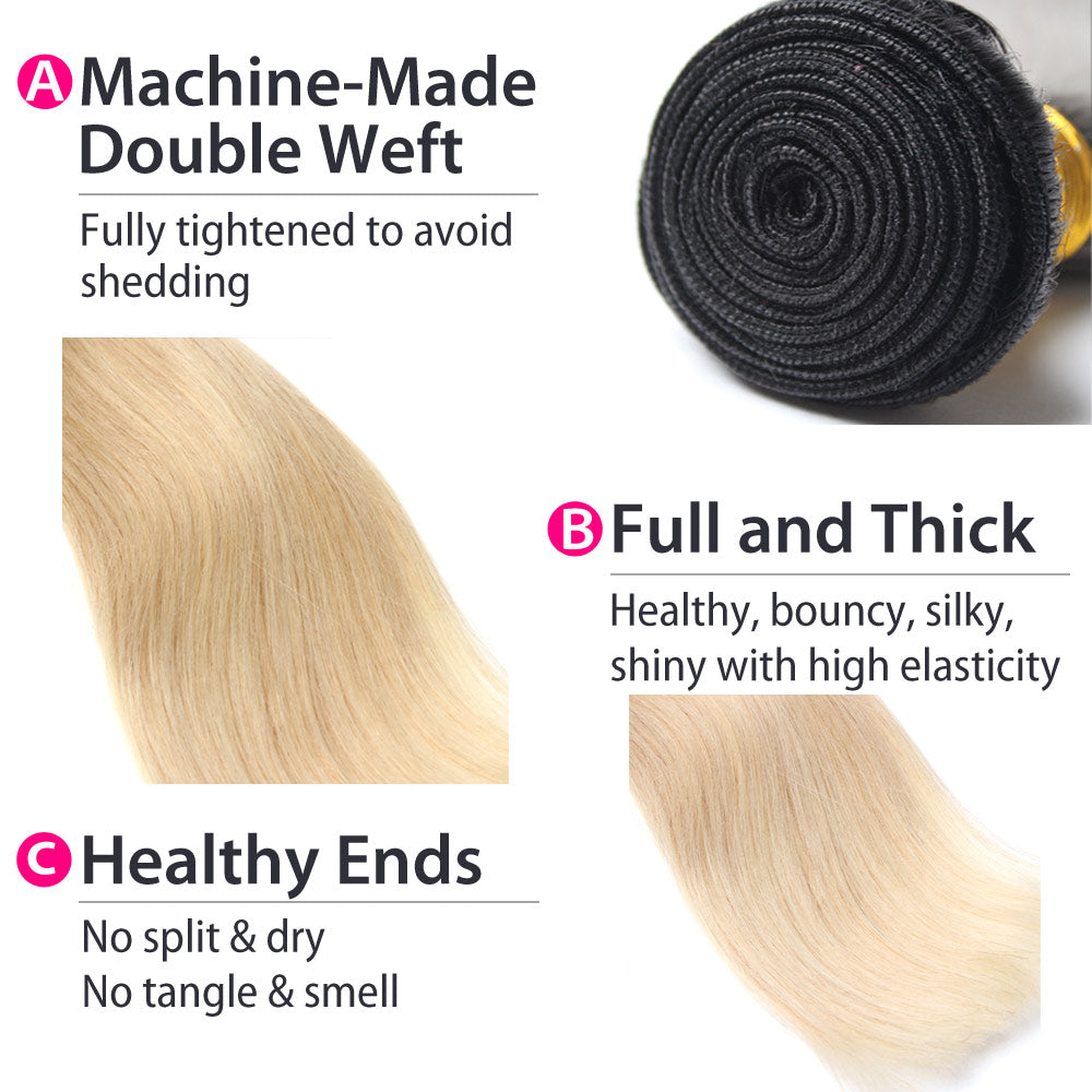 Luxury 10A 1B 613 Blonde Ombre Peruvian Strtight Hair 3 Bundles Details