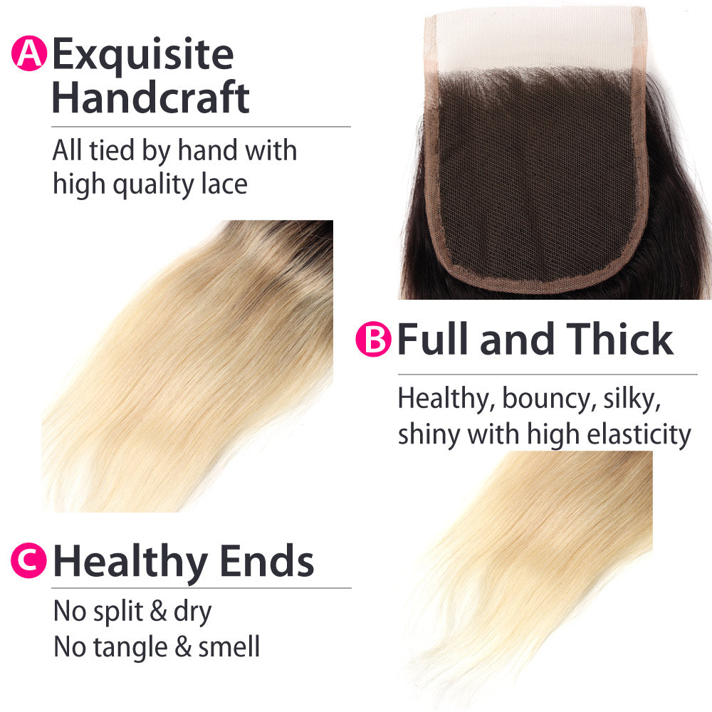 Luxury 10A 1B 613 Blonde Ombre Straight Lace Closure Details