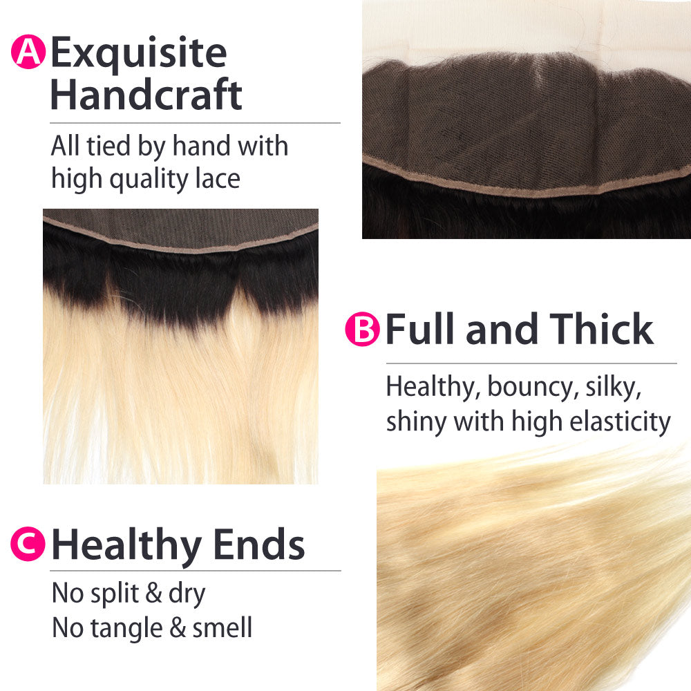 Luxury 10A 1B 613 Blonde Ombre Malaysian Straight Hair Lace Frontal Details