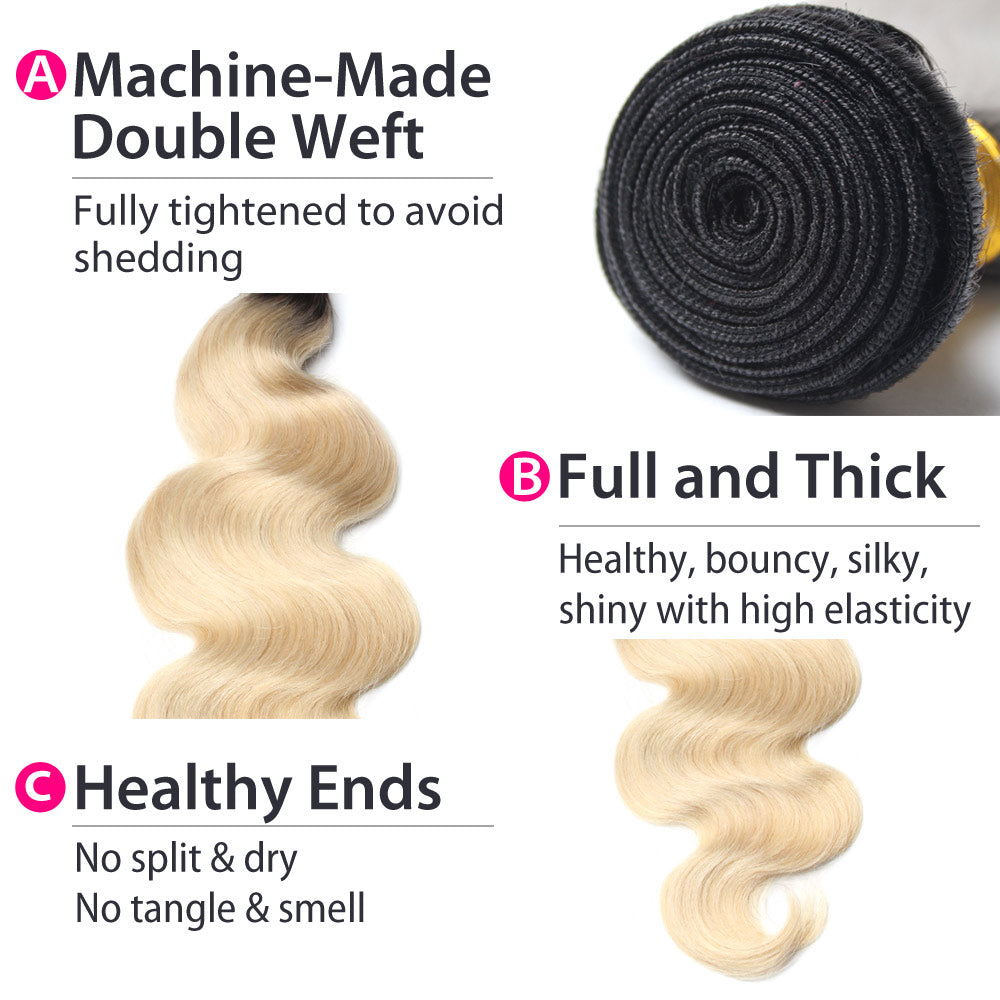 Luxury 10A 1B 613 Blonde Ombre Brazilian Body Wave Hair 2 Bundles Details