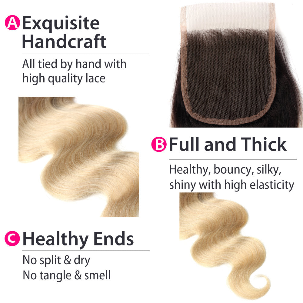 1B 613 Blonde Ombre Peruvian Body Wave Lace Closure Details