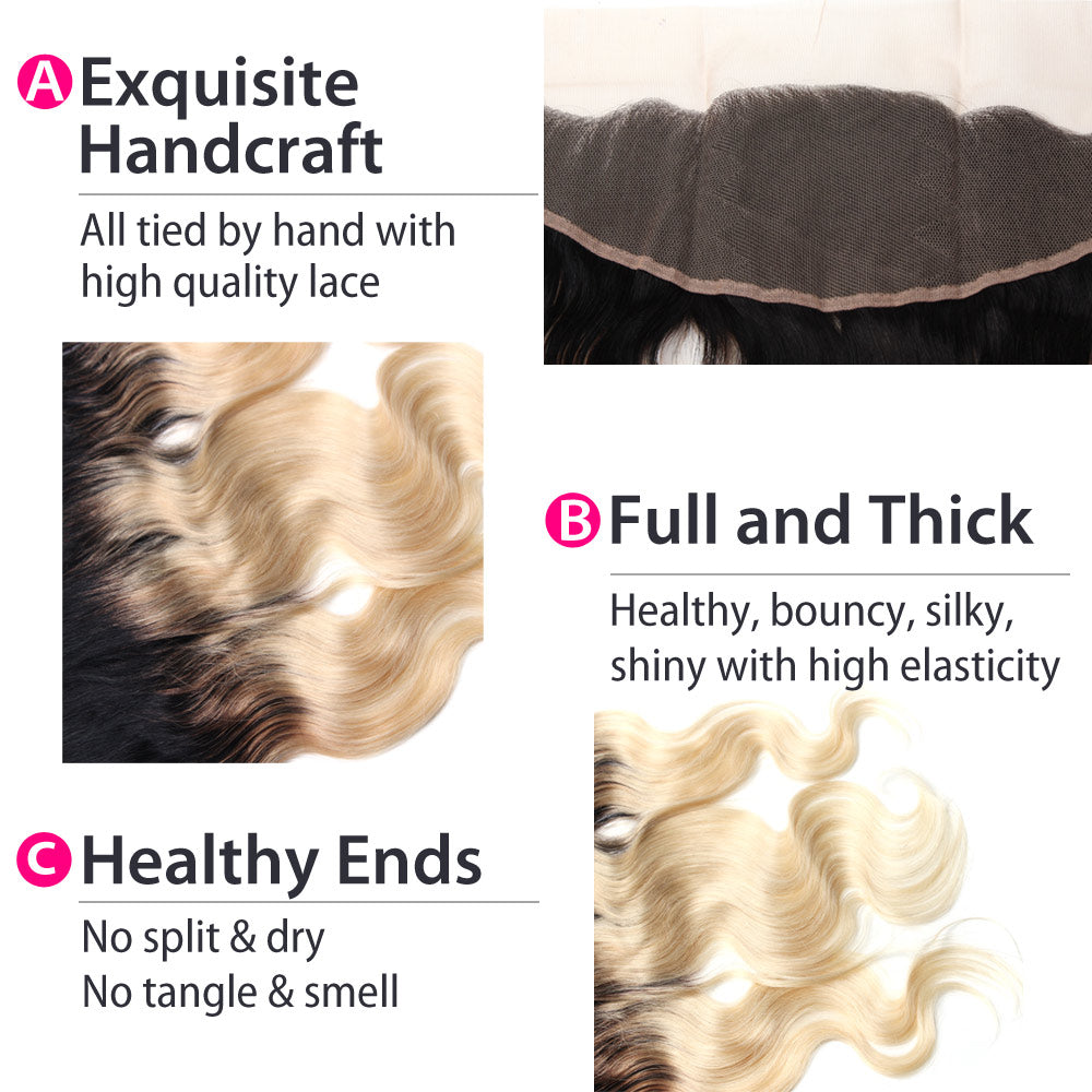 1B 613 Blonde Ombre Body Wave Hair Lace Frontal Details