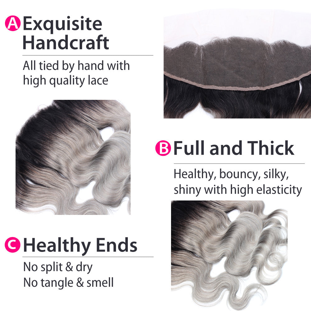 Luxury 10A 1B Gray Ombre Body Wave Lace Frontal Details