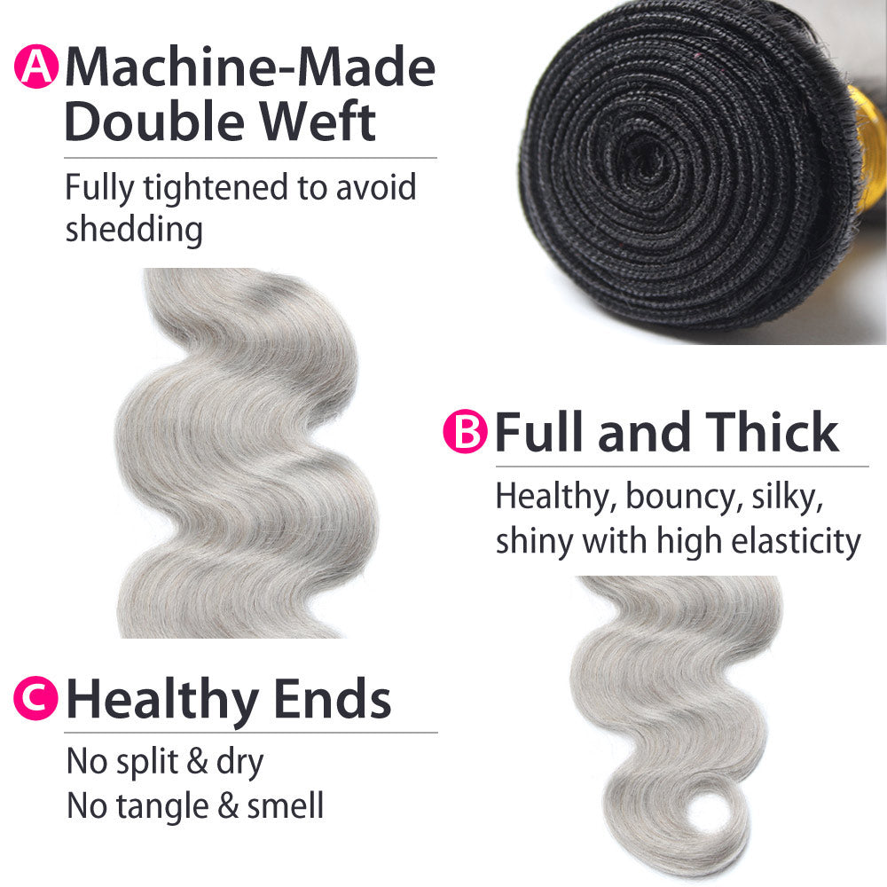 Luxury 10A Peruvian 1B Gray Ombre Body Wave Hair 4 Bundles Details